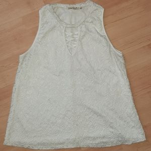 Juniors white lacey tank with front criss cross